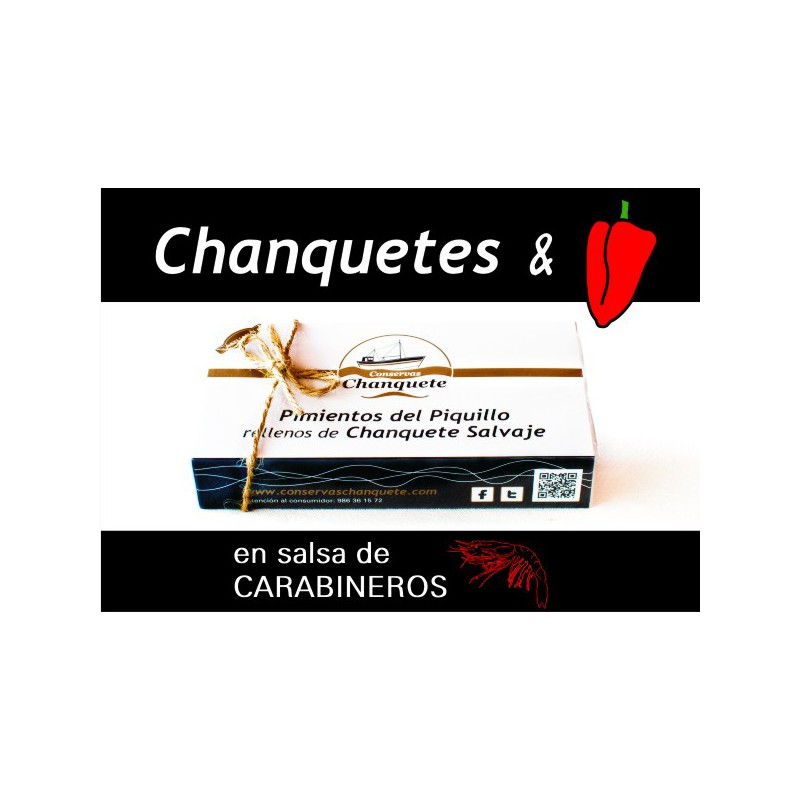 Pimientos del Piquillo rellenos de Chanquete Salvaje en Salsa de Carabineros